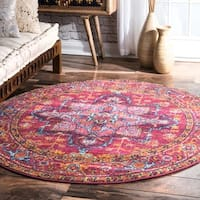 nuLOOM Persian Medallion Pink Round Rug - 5'