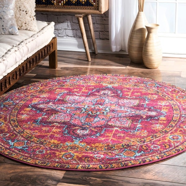 Shop NuLOOM Persian Medallion Pink Round Rug