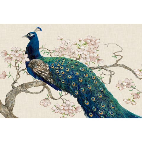 Marmont Hill - Handmade Peacock & Blossoms II Print on Wrapped Canvas