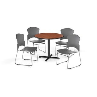 OFM Cherry 36-inch X-style Base Round Table with 4 chairs