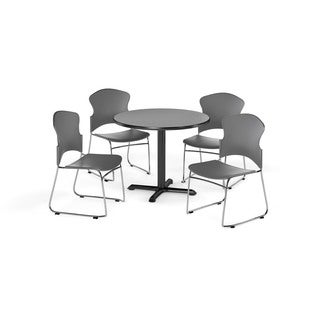 OFM Gray 36-inch X-style Base Round Table with 4 chairs