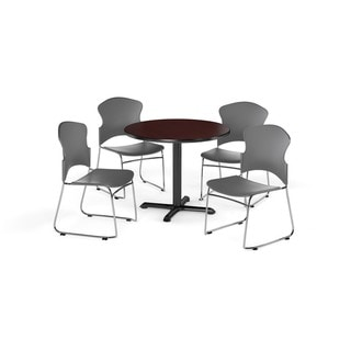 OFM Mahogany 36-inch X-style Base Round Table with 4 chairs