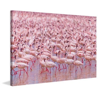 Marmont Hill - 'Flamingo Party' Painting Print on Wrapped Canvas