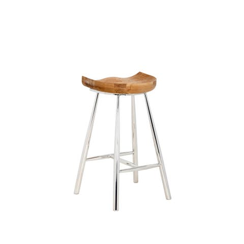 """Sunpan Copley Brown Wood and Stainless Steel 26"""" Counter Stool"""