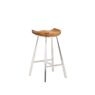 "Sunpan Copley Brown Wood and Stainless Steel 26"" Counter Stool"