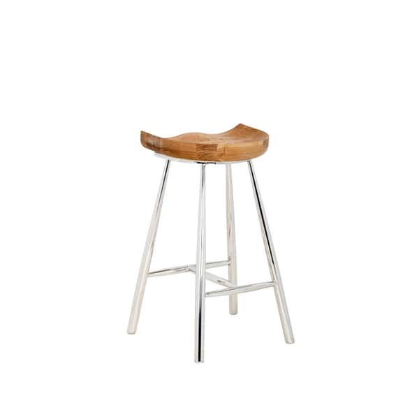 Pleasing Sunpan Copley Brown Wood And Stainless Steel 26 Counter Stool Caraccident5 Cool Chair Designs And Ideas Caraccident5Info