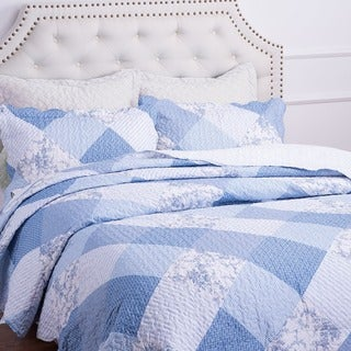 Bedsure Flourish Meadow Printed Patchwork 3-piece Quilt Set