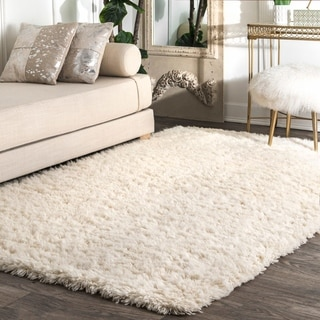 nuLOOM Handmade Soft and Plush Solid New Zealand/ Indian Wool Shag Ivory Rug (9' x 12')