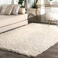 nuLOOM Handmade Soft and Plush Solid New Zealand/ Indian Wool Shag Ivory Rug (9' x 12') - 9' x 12'