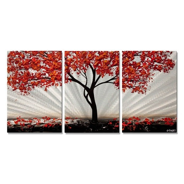 All My Walls Osnat X27 Red Blossom Metal Wall Art