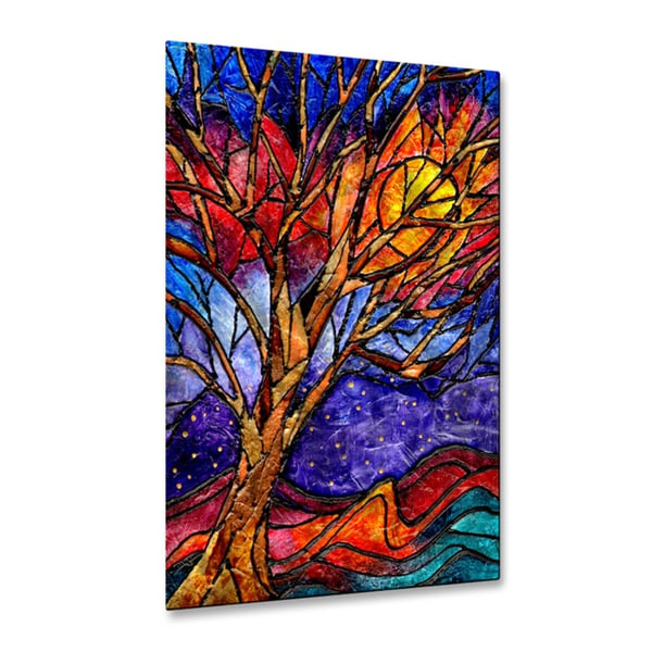 Elaine Hodges U0027Treeu0027 Multicolored Metal/Stained Glass Wall Art   Free  Shipping Today   Overstock.com   19770033 Part 51
