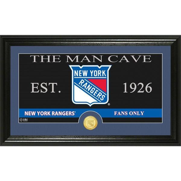 """New York Rangers """"The Man Cave"""" Bronze Coin Panoramic Photo Mint"""