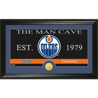 "Edmonton Oilers ""The Man Cave"" Bronze Coin Panoramic Photo Mint"