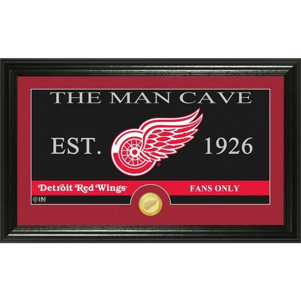 """Detroit Red Wings """"The Man Cave"""" Bronze Coin Panoramic Photo Mint"""