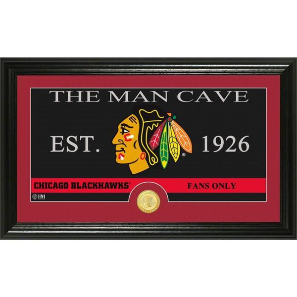 "Chicago Blackhawks ""Man Cave"" Panoramic Bronze Coin Photo Mint"