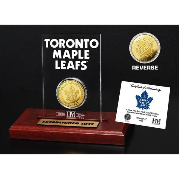 Toronto Maple Leafs Gold Mint Coin in Etched Acrylic Desktop