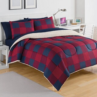 Shop Izod Buffalo Plaid Sherpa Comforter 3 Piece Set
