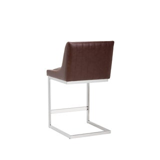 Sunpan Halden Brown Faux-leather Armless Cantilever Counter Stool
