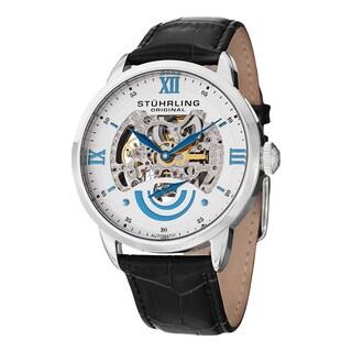 Stuhrling Original Men's Automatic Legacy Skeletonized Black Leather Stap Watch