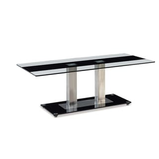 Global Furniture CLear Glass and Metal Black Stripe Coffee Table