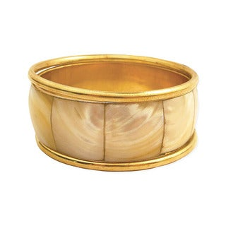 Handmade Gold Metal and Shell Bangle (Set of 3) (China)