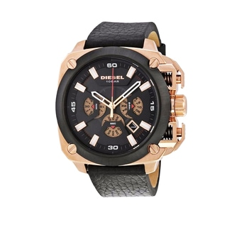 Diesel BAMF Men's Black Leather Chronograph Dial Watch