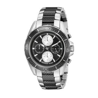 Michael KorsMen's Chronograph JetMaster Two-Tone Carbon Fiber Stainless Steel Bracelet Watch 43mm MK8454
