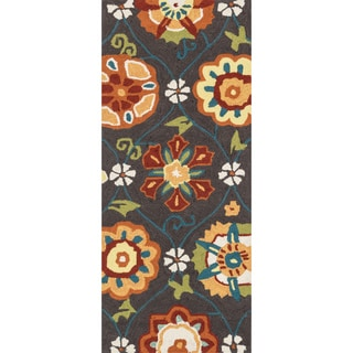 Hand-hooked Savannah Coffee/ Spice Floral Runner Rug (2' x 5')