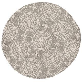 Hand-hooked Savannah Grey/ Ivory Medllion Rug (3' x 3' Round)