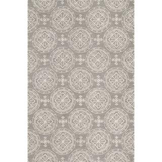 Hand-hooked Savannah Grey/ Ivory Medallion Rug (2'3 x 3'9)