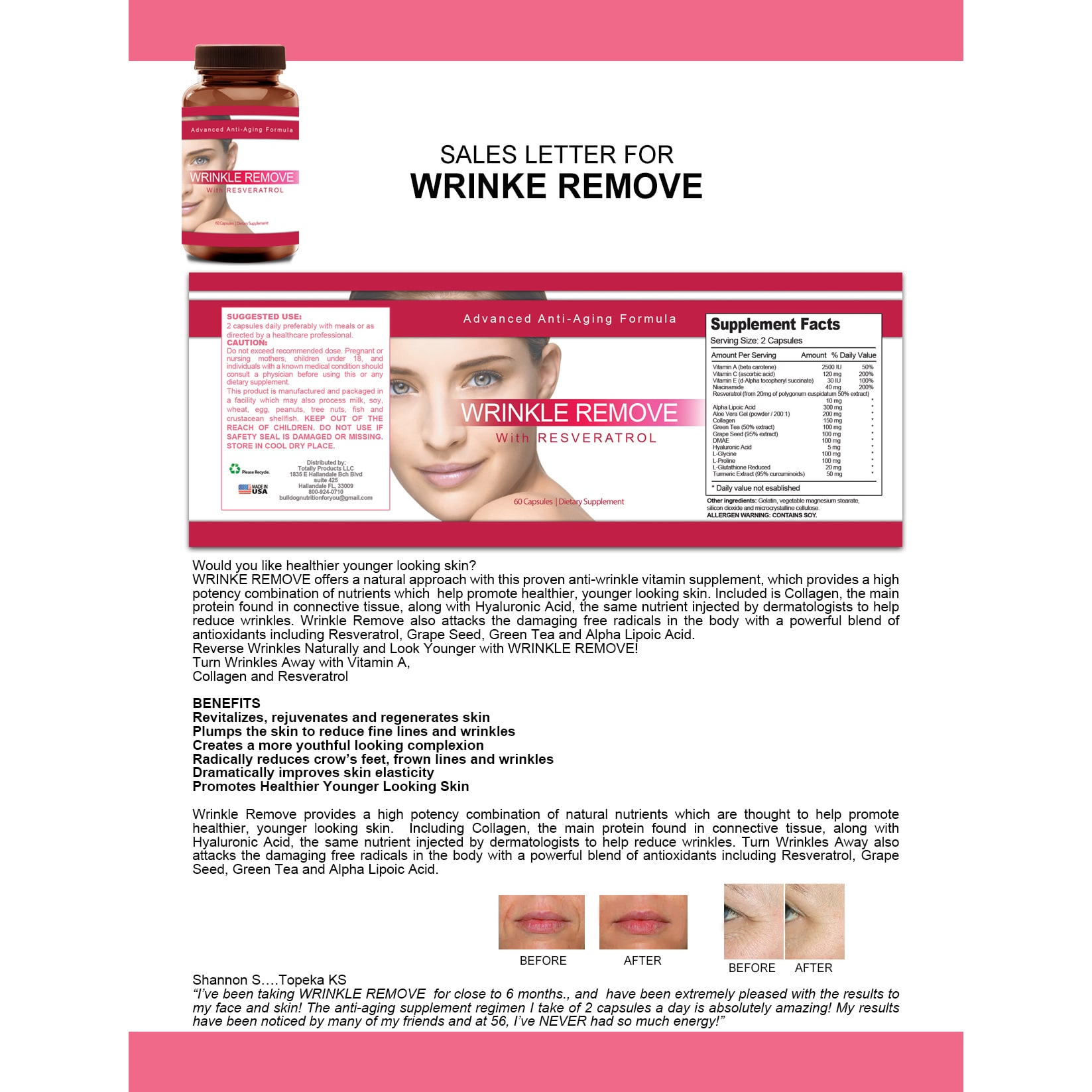 Shop Wrinkle Remove Dietary Supplement With Resveratrol Vitamin A C E Green Tea And Collagen Overstock 13028999