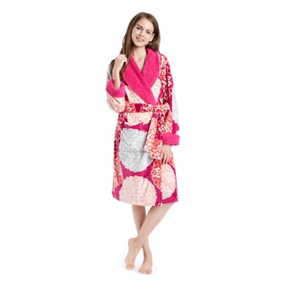 Artology Medallion Fuschia Plush Wrap Robe