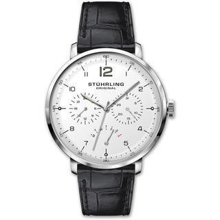 Stuhrling Original Quartz Multifunctinal Black Leather Strap Watch