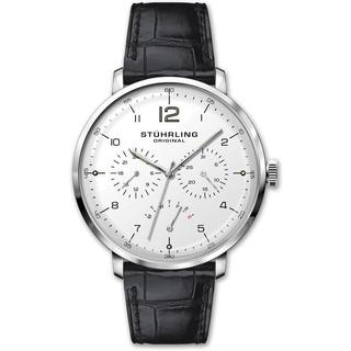 Stuhrling Original Quartz Multifunctinal Black Leather Strap Watch