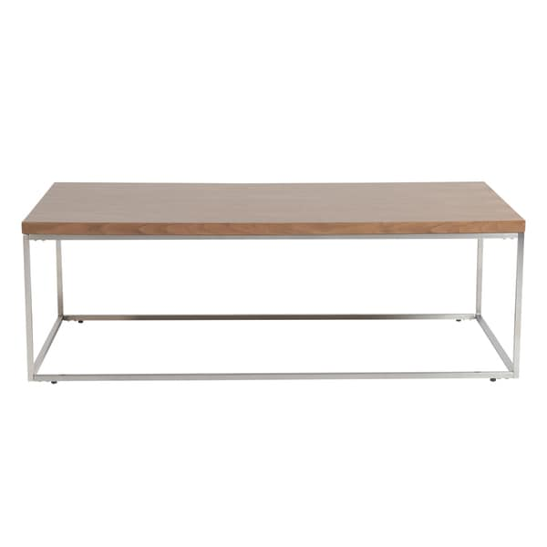 Stainless Steel And Wood Coffee Table: Shop Euro Style Teresa American Walnut Wood And Brushed