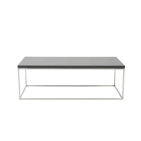 Teresa Rectanglular Gray and Polished Stainless Steel Base Coffee Table