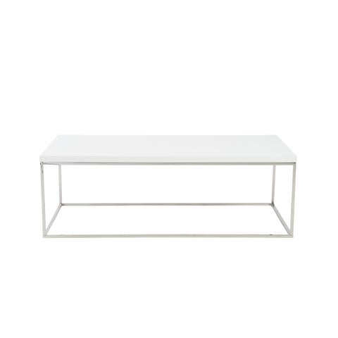 Euro Style Teresa White Polished Stainless Steel Rectangle Coffee Table