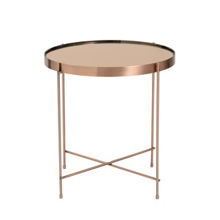 Trinity Round Copper Tinted Steel/Glass Side Table
