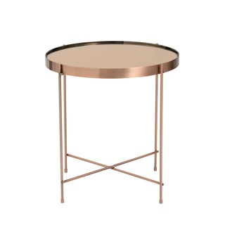 Elegant Trinity Round Copper Tinted Steel/Glass Side Table