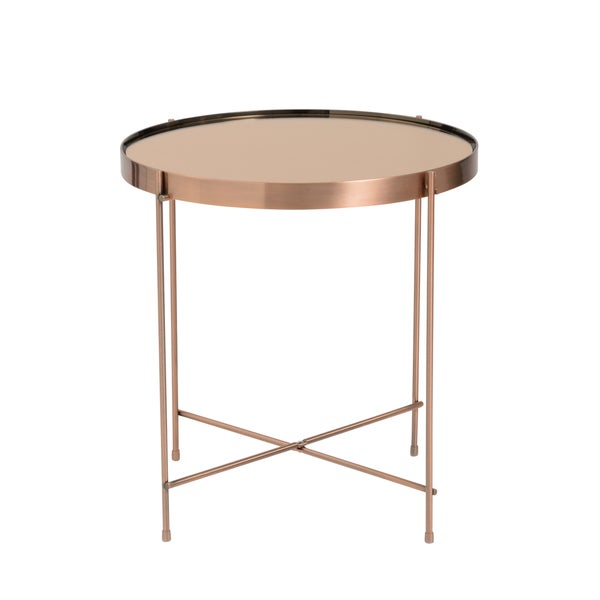 Trinity Round Copper Tinted Steel/Glass Side Table. Opens flyout.