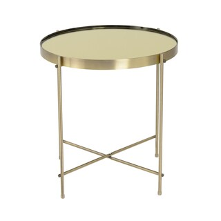 Euro Style Trinity Round Mirror0top Brushed-brass Side Table