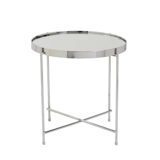 Euro Style Trinity High Gloss Chrome Steel and Glass Round Mirrored-top Side Table