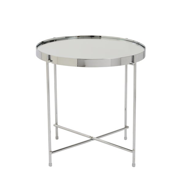 Euro Style Trinity High Gloss Chrome Steel And Glass Round Mirrored Top  Side Table