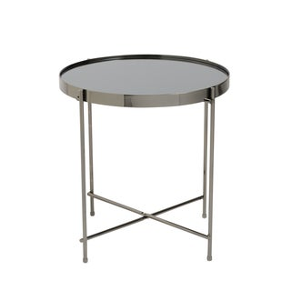 Euro Style Trinity Black-tinted Mirror-top Round Side Table with High-gloss Black Base