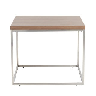 Teresa Square American Walnut Side Table with Brushed Stainless Steel Base