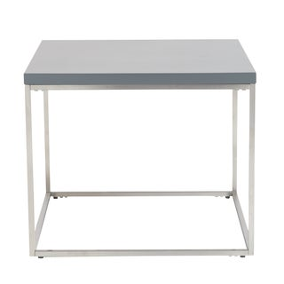 Euro Style Teresa Matte Grey Brushed Stainless Steel Square Side Table