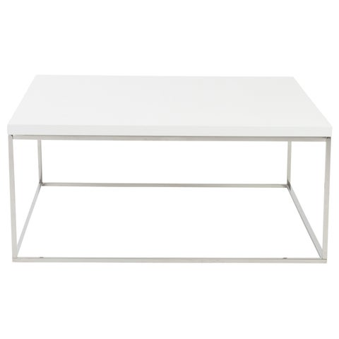 Euro Style Teresa White MDF and Polished Stainless Steel Square Coffee Table