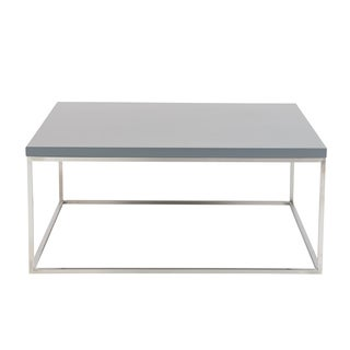 Teresa Matte Gray Square Coffee Table with Brushed Stainless Steel Base