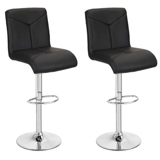 360 Degree Swivel Adjustable Hydraulic Lift Durable Bar Stool, Set of Two