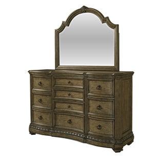 Aubrey Brown Wood and Veneer 2-piece Dresser and Mirror Set